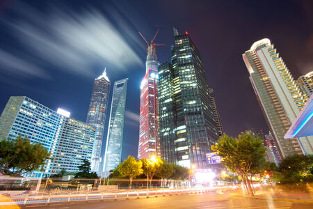 high rise: Shanghai tower building beautiful night view Stock Photo