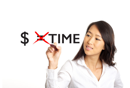 Asian Business woman crossing out money equals time concept