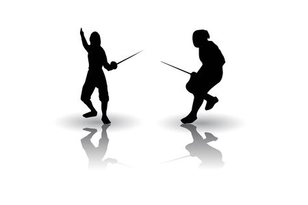 fencing sword: Fencing fighters silhouettes