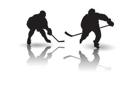 silhouettes: Ice hockey players silhouettes