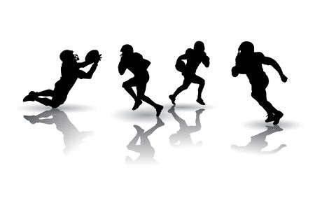 silhouettes: American football players silhouettes