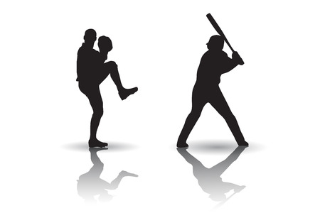 Baseball Players silhouettes 向量圖像