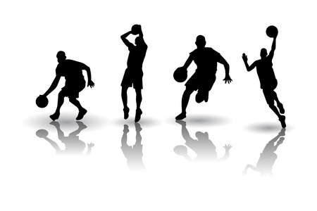 Basketball players Posture silhouettes