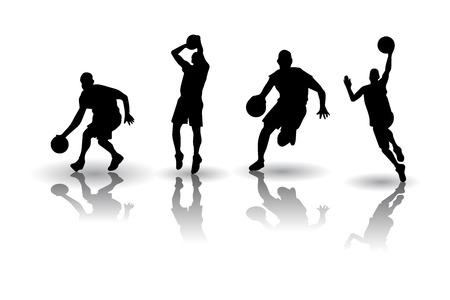 Los jugadores de baloncesto siluetas Postura
