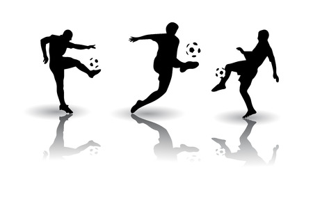 goal kick: Football, soccer sports silhouettes Illustration