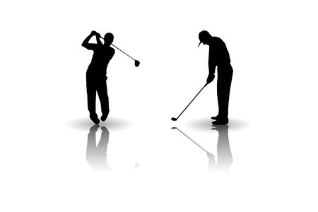 Golf players Posture silhouettes 向量圖像