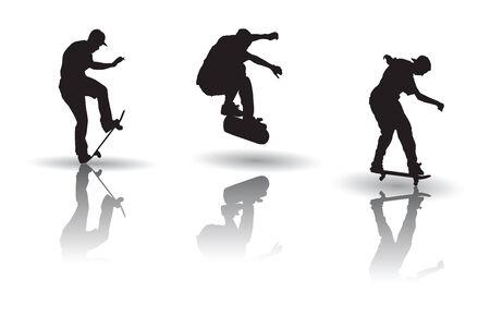 スケート ボードの姿勢のシルエット