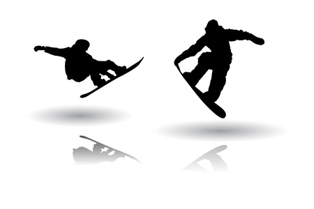Snowboarders silhouettes