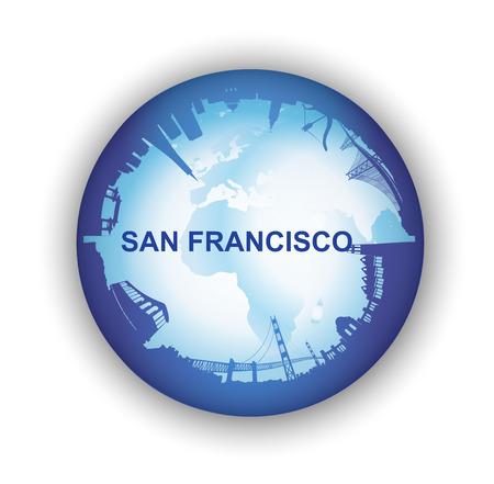 地球儀と San Francisco スカイラインのイラスト