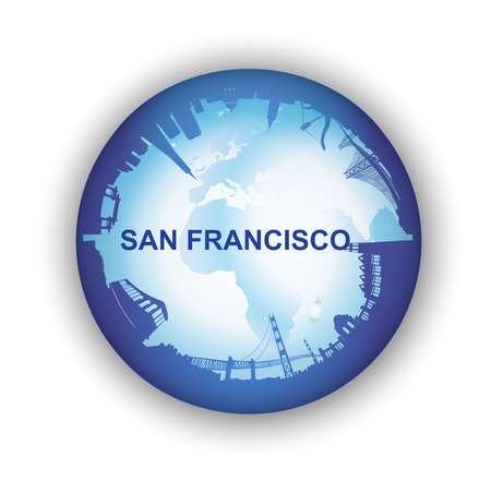 Ilustración del horizonte de San Francisco con el globo terráqueo Foto de archivo - 26162915