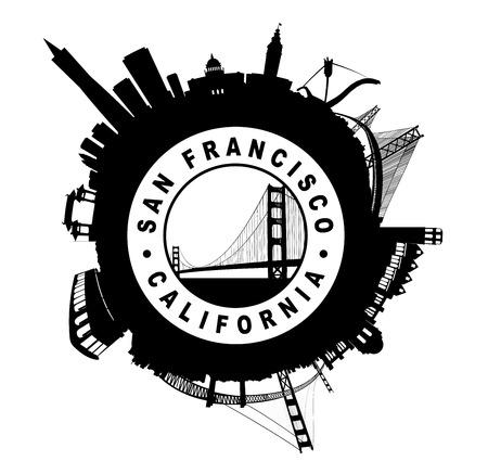 Illustratie van de Horizon van San Francisco rond Seal symbool op wit Stockfoto - 26162912
