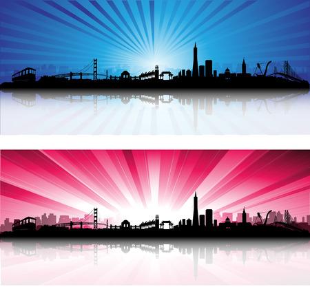 San Francisco City Skyline cielo colorato Silhouette opere d'arte Archivio Fotografico - 26162916