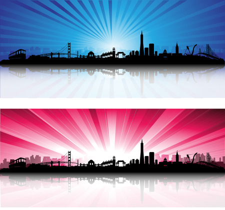 bay area: San Francisco City Skyline colorful Sky Silhouette  artwork Illustration
