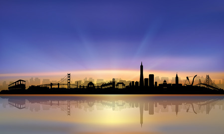 san francisco bay: San Francisco City Skyline colorful beautiful Sunset Silhouette artwork