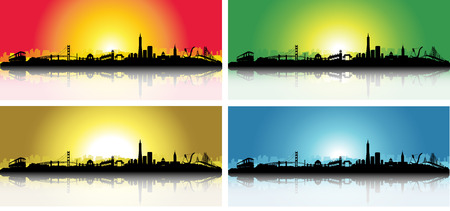 bay area: San Francisco City Skyline Sunrise Set Silhouette artwork Illustration