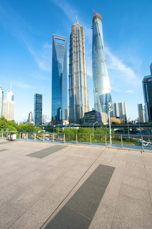 jin mao tower: Shanghai, China - July 22, 2014: A beautiful view of Shanghai tallest building with the Shanghai tower still in construction.