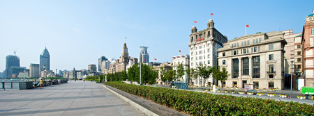 Shanghai, China - August 6, 2014: A beautiful view of historical buildings at the Shanghai Bund area in the morning