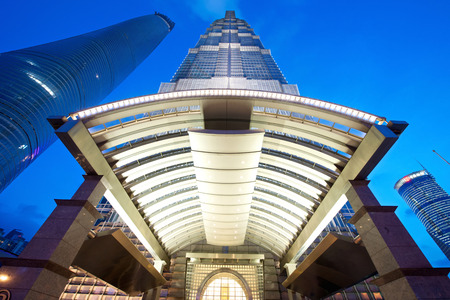 jin mao tower: Shanghai, China - August 6, 2014: An amazing view of Shanghai Jin Mao tower at the Hyatt Entrance Editorial
