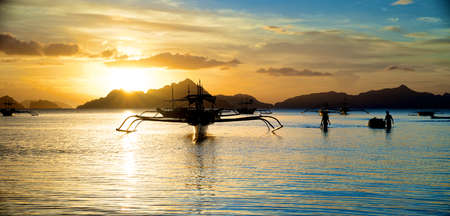 Beautiful Sunset in El Nido in the Palawan Island in the Philippines. photo