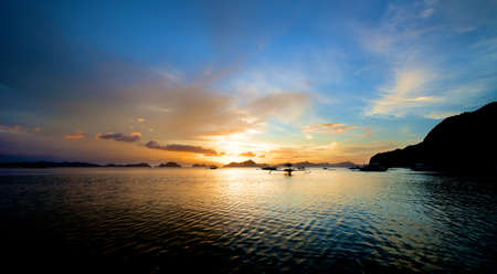 El Nido sunset in the Palawan Island in the Philippines. photo