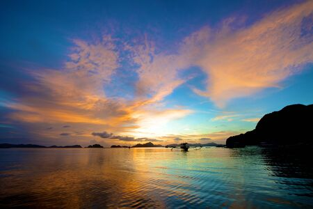 nido: El Nido sunset in the Palawan Island in the Philippines.