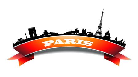 paris skyline: Round Paris Skyline Silhouette banner