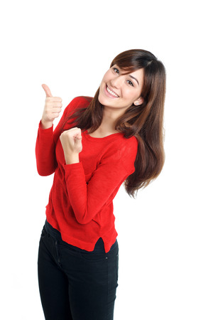 Cheering mixed race Girl thumbs up in red on white background