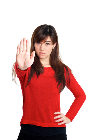 talk to the hand: Stop and talk to my hand gesture on white background