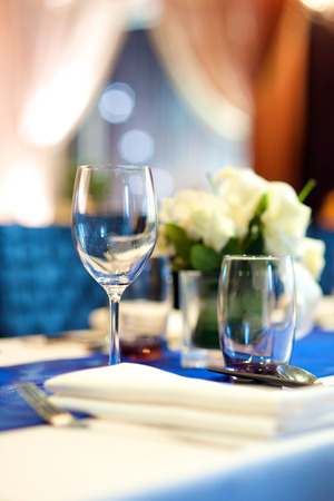 Wedding dinner banquet table set up