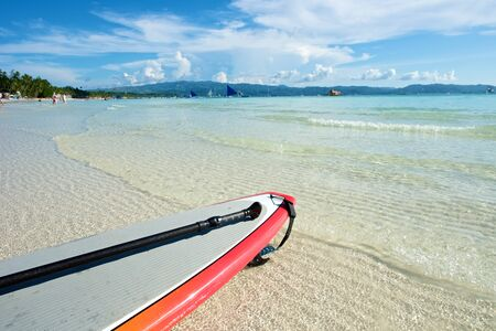 boracay: Beach view with surf board in Boracay Island in the Philippines.