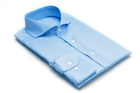 blue collar: The packed shirt isolated on white background.