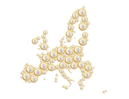ユーロ硬貨は、欧州連合の地図