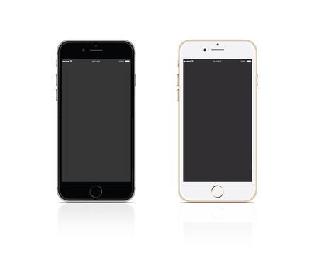 Vector Mobile phone silver and gold on white background