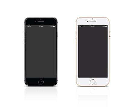 Vector Mobiele telefoon zilver en goud op een witte achtergrond