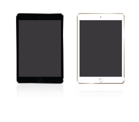 touchpad: Vector tablet silver and gold on white background