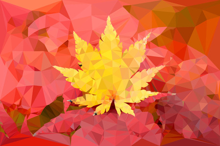 gradual: Yellow leaf vector polygon illustration in fall