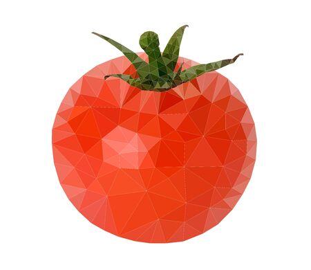 白い背景の上のトマト多角形のベクトル図