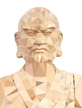 Polygon Vector of Wooden Buddha in prayer on white background