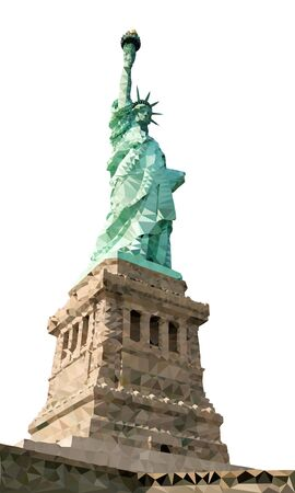 liberty statue: Liberty Statue Polygon Vector in New York CIty Illustration