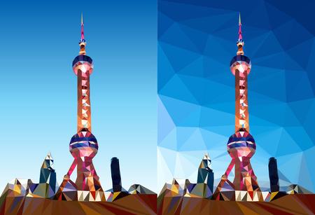 상하이 진주 타워 다각형 벡터 아트 그림