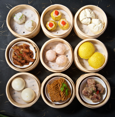 Aerial View of Various Yumcha Dimsum Set in bamboo container
