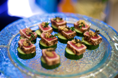 starter: Delicious Beef Canapés on plate in restaurant