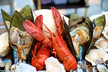 raw lobster: Seafood and lobster in restaurant buffet