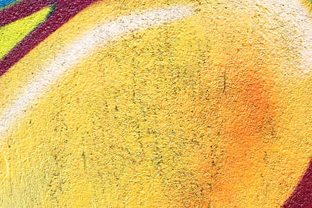 abstract backgrounds: Painted Yellow Color Graffiti Wall texture