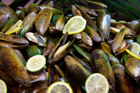 Fresh Seafood mussels in buffet restaurant