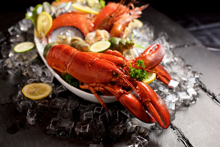 Seafood lobster plater with ice on slate Stock fotó - 67107880