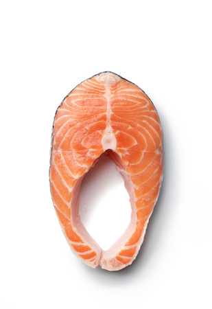 diet dinner: Fresh slice of salmon seafood on white background Stock Photo