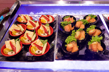 Delicious canapes in buffet restaurant