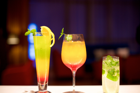 daiquiri alcohol: Various Colorful Cocktails in the bar restaurant