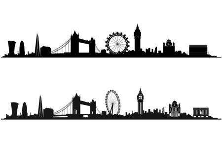 London Skyline Silhouette w czerni i bieli